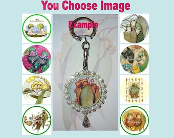GUMNUT BABIES Keyring Keychain Key Ring Chain You Choose Image & Colours - Bottlecap Gum Nut Snugglepot and Cuddlepie Baby Leaf May Gibbs