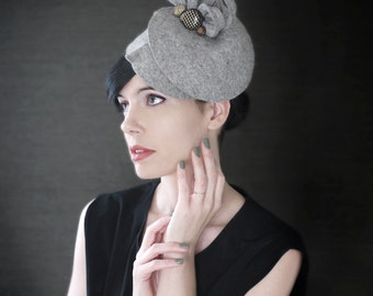 Grey Industrial Felt Fascinator With Vintage Buttons - Fall Fashion - Made to Order