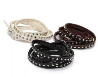White Leather Cuff, Leather Wrap Bracelet, Leather Cuff, Leather Bangle, Leather Stud Wrap, called Ella.