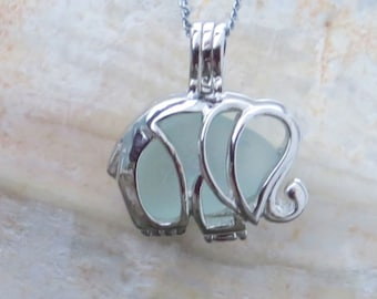 Elephant Necklace Locket Frosted Aqua Sea Glass  by Wave of Life