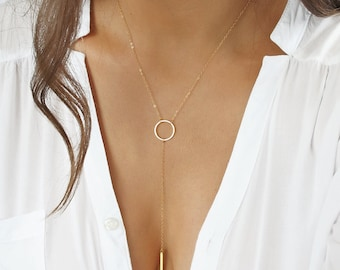 Eternity Lariat Necklace, Gold Circle Lariat Necklace with Gold Bar Drop, Halo Y Necklace, Karma Lariat Necklace