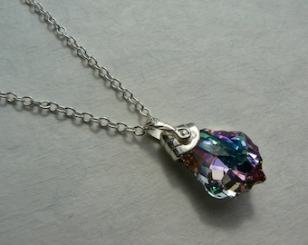Sterling silver Deco style pendant, Swarovski elements baroque purple Vitrail light crystal drop