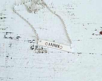 Jeep lover handstamped bar necklace | jeep | jeep jewelry | customizable | aluminum | handstamped | jeep necklace