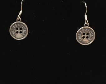 Sterling silver (925) cute as a button earrings