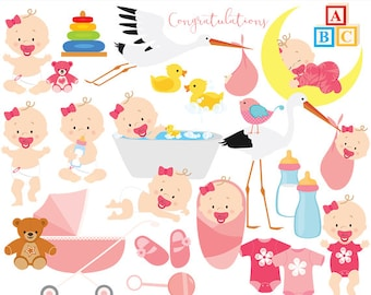 Baby clip art baby clipart baby girl baby shower pregnancy birth stork pink bath rubber duck toys baby bottle one-piece commercial use