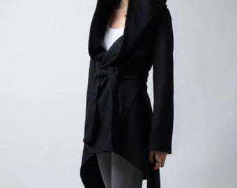Black Coat with a Hood / Asymmetric Hoody Cardigan / Sweater Hoodie / Black Jacket / Stylish Jacket / Marcellamoda k - MC0075