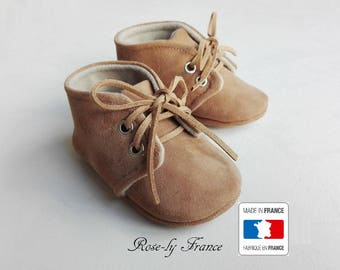 Brown leather and beige wool baby shoes