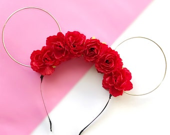 Red Flower Crown and Gold Wire Mouse Ears Headband