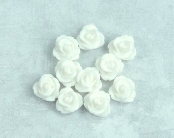 10 Off White Rose Cabochon 10mm Rose Cabochon Off White Flower Cabochon Rose Flatback