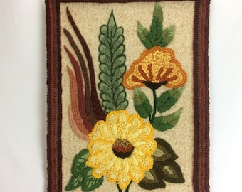 Vintage Mid Century Woven Textile 3-D Folk Art Floral Wall Hanging 23x16.5 70s