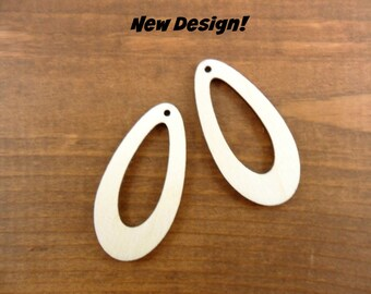 "Wood Earring Teardrop Shapes 2"" H x 1"" W x 1/8"" Laser Cut Wood Jewelry Making Shapes - 20 Pieces"