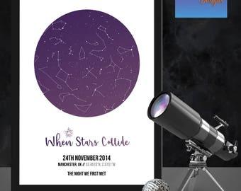 Personalised 'When stars collide' star map/constellation night sky map - Fantastic Birthday/ XMAS /wedding/valentine's gift -  Shabby Chic