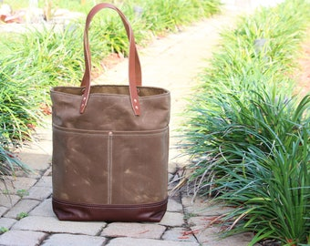 Tall waxed heavy canvas tote bag - made in USA - 010087