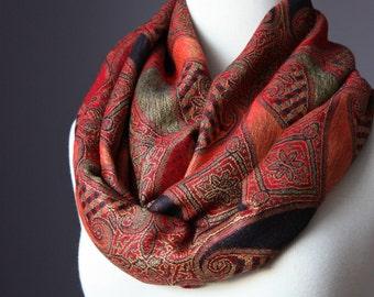 Large paisley  Infinity Scarf , Pashmina  ,  Orange / Red / Brown , women scarves