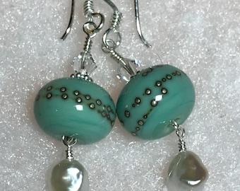 Sea Dreams lampwork, pearl and crystal earrings