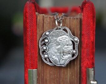 Art Nouveau Antique French Bohemian Woman Silver Pendant Necklace