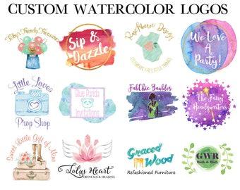 Watercolor Logo - Trendy Logo - Small Business Logo - Feminine Logo - Branding Identity - Vector Logo - Small Business Logo - Custom Logo
