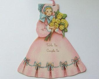 Vintage bridge tally card lady southern belle bridesmaid in pink crinoline diecut scorecard wedding ephemera