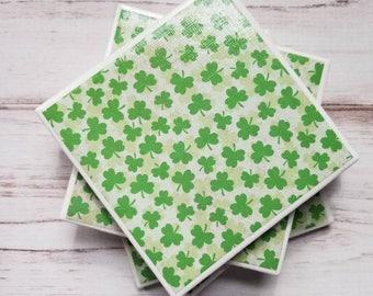 Shamrock Coasters, St. Patricks Day Coasters, Ceramic Coaster Set, Tile Coasters, Gift For Her, Irish Decor, Housewarming Gift, Dorm Decor