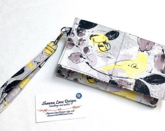 women's wallet, wristlet, black gray yellow birds, Wallet with strap, smart phone accessory, shawna lane designs