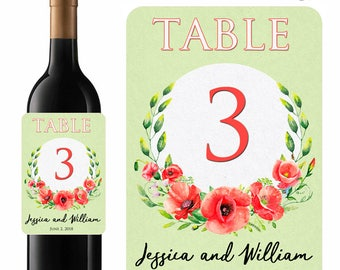 Wedding Wine Labels Table Numbers Red Poppies Watercolor Floral Wreath Poppy Flowers Designer Labels Waterproof Vinyl