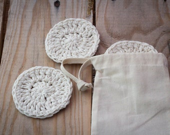 Cotton Face Scrubbies | Reusable Cleansing Pads | Recycled Cotton | Individually handmade in a cotton wash bag | Crochet face wipe scrubbies