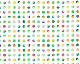 Multi points sur fond blanc de la Collection Pondlife de Ella bleu tissu