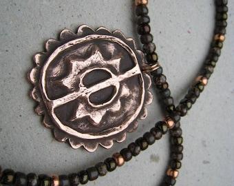 Artifact Inspired Maya Copper Pendant on Beaded Necklace - Copper Necklace - Maya Pendant