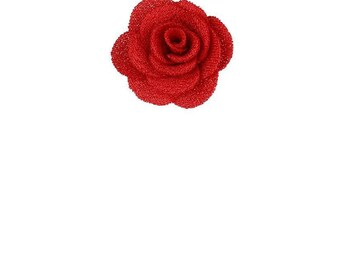 1 red flower fabric 25 mm cabochon.