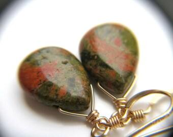 Green Stone Earrings . Green Teardrop Earrings . Unakite Earrings . Natural Stone Earrings . Green and Gold Earrings