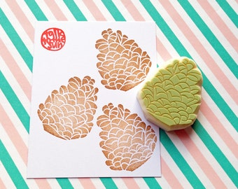 pine cone rubber stamp | pinecone stamp | diy woodland holiday card making | craft gift for nature lovers | hand carved by talktothesun