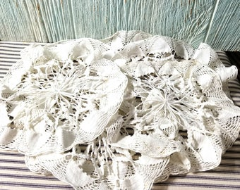 Lot of Vintage Cotton Doilies, Shabby Cottage, Arts Crafts Collage Project, Vintage Ephemera, Crochet Doily