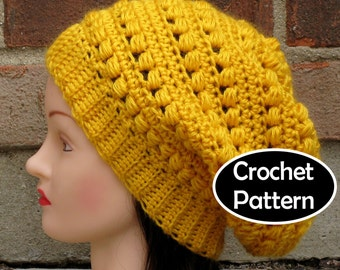 CROCHET HAT PATTERN Instant Download - Aimee Slouchy Beanie Beret Tam Hat  Womens- Permission to Sell English Only