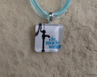 Broadway Play The Miracle Worker Glass Pendant and Ribbon Necklace