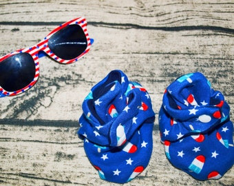 4th of July Baby Booties   Memorial Day Booties   Red White and Blue   Popsicles   Patriotic Baby Clothes   Baby Shoes   Independence Day