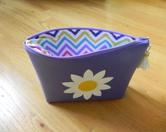 Violet with a white and yellow flower flat bottom bag