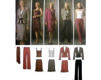 Women's Wardrobe Coordinates Top, Pants, Skirt, Jacket and Scarf Easy Chic Sewing Pattern Misses Size 6, 8, 10, 12 Uncut Simplicity 4885