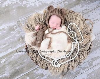 Teddy Bear Bonnet And Stuffy - Photo Prop - Crochet PATTERN