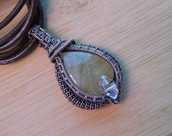 Rutilated Quartz Cabochon Diamond Quartz Oxidized Copper Wire Wrapped Jewelry Handmade Boho Renaissance Medallion Amulet Pendant