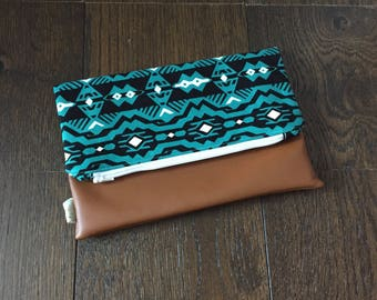 Tribal Fold Over Clutch with Vegan Leather Bottom