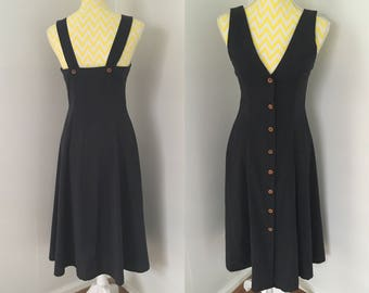 Vintage 80s black button front cotton summer straps classic tailored day dress size small 8 Au