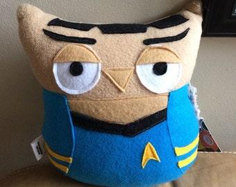 Mr. Spock Owl Plushie- Inspired by Star Trek- Plush Mr. Spock Owl- Small Plush Owl
