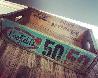 Very Rare Vintage 1964 Canfield's 50/50 Wood Soda Crate Chicago Illinois