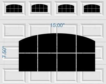 Carriage House Arched Window Style Faux Garage Door Vinyl Decals - No Faux Hardware