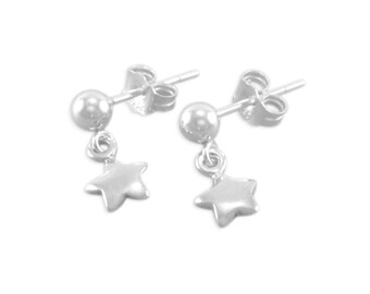 Girls Star Earrings, Sterling Silver dangle, childs jewelry, posts, post earrings, niece, daughter first jewellery Christmas, stars FLORENCE