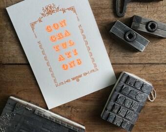 Letterpress typeset Congratulations card