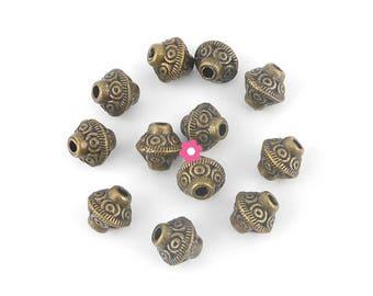 metal bicone beads 10 x bronze 6x6mm (83)