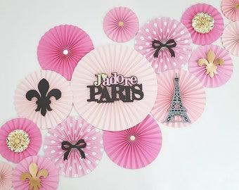 Paris Themed Paper Fans Party Decor Backdrop, Eiffel Tower Themed Party, Paris Themed Backdrop, Baby Shower, Graduation Backdrop, Sweet 16