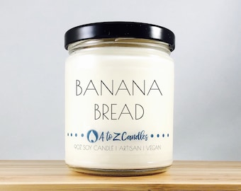 Banana Scented Candle, Banana Candle, Banana Bread Candle, Bread Scented Candle, Banana Soy Candle, Banana Nut Bread, Glass Jar Candles