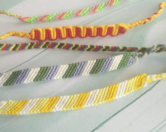 Striped friendship macrame handmade bracelet/anklet/wristband, made to order, red orange yellow blue green purple
